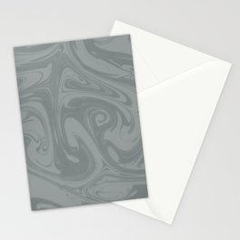 PPG Night Watch Pewter Green Abstract Fluid Art Swirl Pattern Stationery Cards