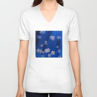 jellyfish V-neck T-shirts featuring jellyfish by shennyche