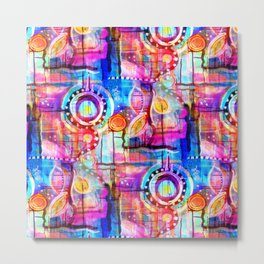 Psychedelic Quilt Work Painting Metal Print