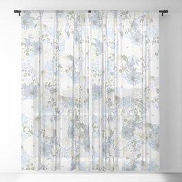 Light Blue Floral Pattern Sheer Curtain
