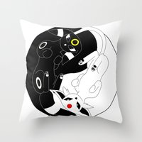 ying yang Throw Pillows featuring Ying & Yang by Kurew Kreations