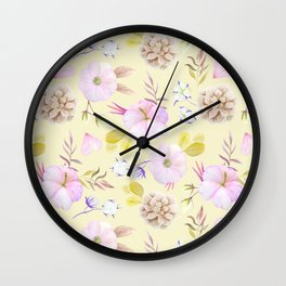 Modern hand painted pink lavender yellow watercolor floral Wall Clock