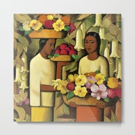 Mujeres con flores (Woman selling Zinnias, Lilies, Angels Trumpet & Begonias) by Alfredo Martinez Metal Print