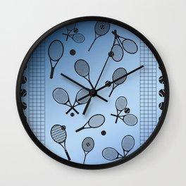 Tennis border blue Wall Clock