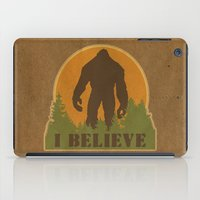 bigfoot iPad Cases featuring Bigfoot - I believe by Heather Green