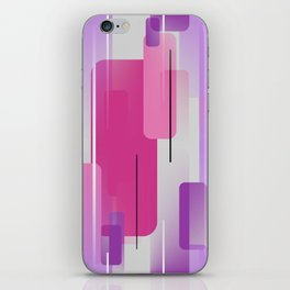 Shapes and Lines Abstract - Purple, Pink, Gray iPhone Skin