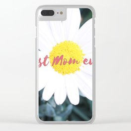 """SMILE """"Best Mom ever!"""" Edition - White Daisy Flower #1 Clear iPhone Case"""