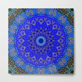 Mandala in Cobalt And Gold Metal Print