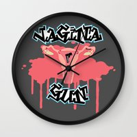 vagina Wall Clocks featuring Vagina Gun by Katherine_Montalto