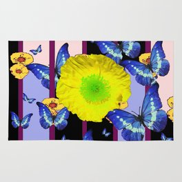 Yellow flowers rugs society6 blue butterfly lemon yellow flower floral cage rug mightylinksfo