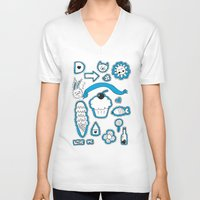 sticker V-neck T-shirts featuring Sticker World by Duru Eksioglu