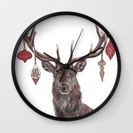 Stag with Baubles Wall Clock