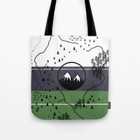 middle earth Tote Bags featuring Middle Earth by Cécile Pellerin