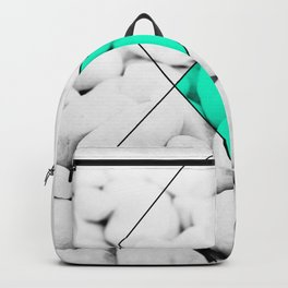 Modern abstract black white rocks stone photography geometric shapes turquoise color block Backpack