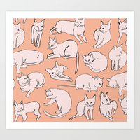 picasso Art Prints featuring Picasso Cats by leah reena goren