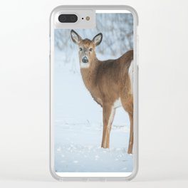 Deer in the snow Clear iPhone Case