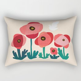Poppy flowers and bird Rectangular Pillow