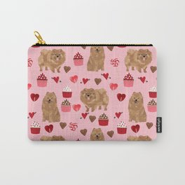Pomeranian valentines day love hearts cupcakes pattern cute puppy dog breeds by pet friendly Carry-All Pouch
