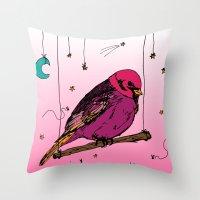 birdy Throw Pillows featuring Birdy by Gwladys R.