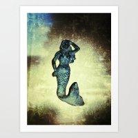 her mermaid on the wall Art Print