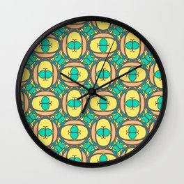 Multicolored decorative seamless pattern with mosaic ornaments Wall Clock