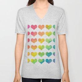 Rainbow Heart Gradient Pattern Unisex V-Neck