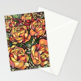 Orange Shaded Floral Stationery Cards