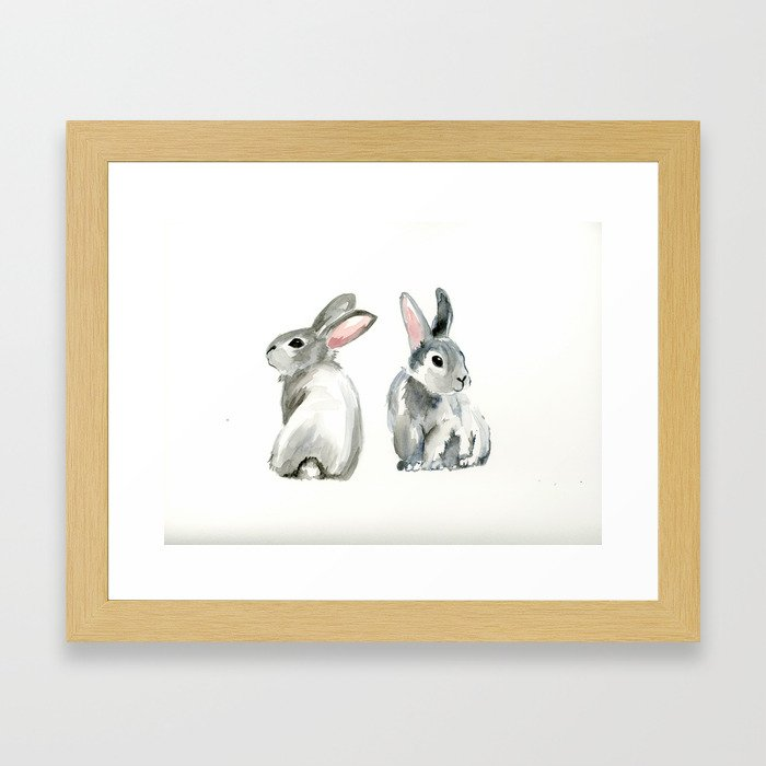 baby rabbit sister watercolor painting  Framed Art Print