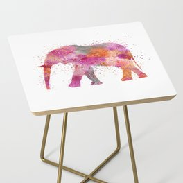 Artsy watercolor Elephant bright orange pink colors Side Table