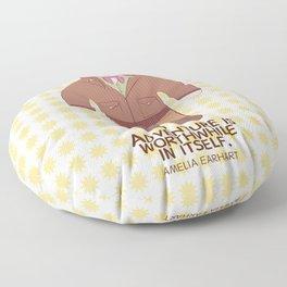 Amelia Earhart Illustration Floor Pillow