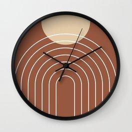Mid Century Modern Geometric 3 (Terrocatta and beige) Wall Clock