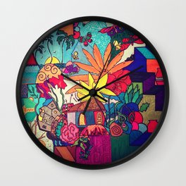 Flowers and colors Wall Clock