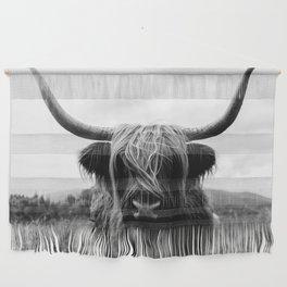 Scottish Highland Cattle Black and White Animal Wall Hanging