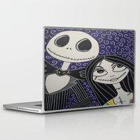 jack skellington Laptop & iPad Skins featuring Jack Skellington and Sally by KittyOG