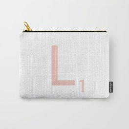 Pink Scrabble Letter L - Scrabble Tile Art and Accessories Carry-All Pouch