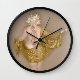 """Golden Goddess"" - The Playful Pinup - Majestic Curvy Pin-up Beauty in Gold by Maxwell H. Johnson Wall Clock"