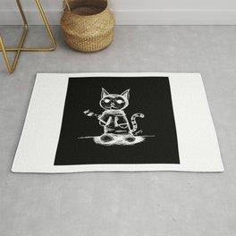 black cat kuroneko ecopop Rug