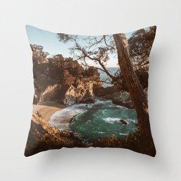 Big Sur Sunset at McWay Falls Throw Pillow