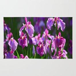 LILAC IRIS GREEN GARDEN  FLOWERS FLORAL Rug