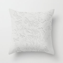 Gray Butterflies Illustration  Throw Pillow