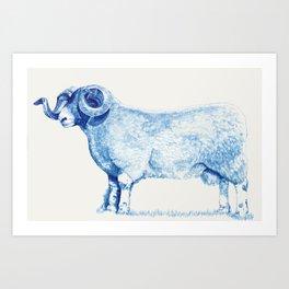 Blue Ink Farm Ram Art Print