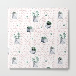Potted Succulents Pink Polka Dots Metal Print