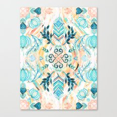 Abstract Painted Boho Pattern in Cyan & Teal Canvas Print