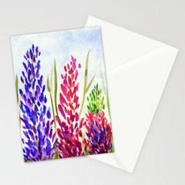 Watercolor Floral Art, Lupine Wildflowers Stationery Cards