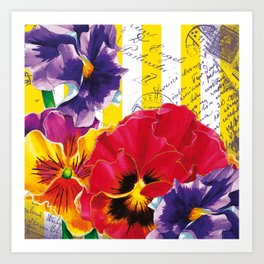 Yellow Stripes and Flowers Art Print