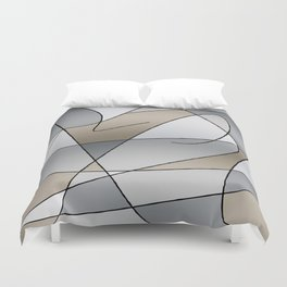 ABSTRACT CURVES #2 (Grays & Beiges) Duvet Cover