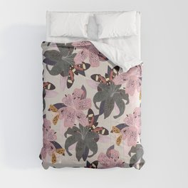 Lilies and butterflies insects Comforters
