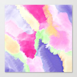 Modern bright pink purple green hand painted watercolor wash pattern Canvas Print