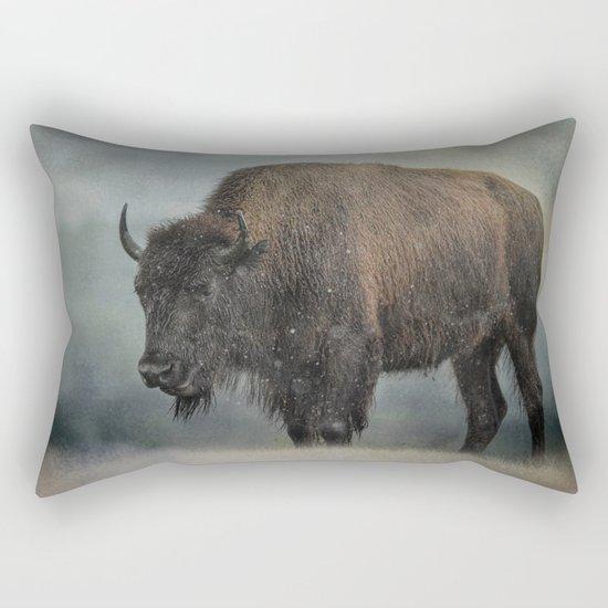 Stormy Day - Buffalo - Wildlife Rectangular Pillow