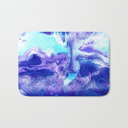 Swirling Marble in Aqua, Purple & Royal Blue Bath Mat